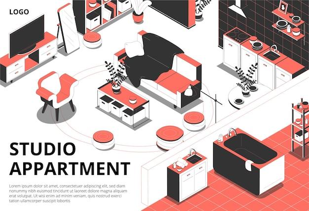 Изометрическая иллюстрация с комнатами с элементами мебели и редактируемым текстом