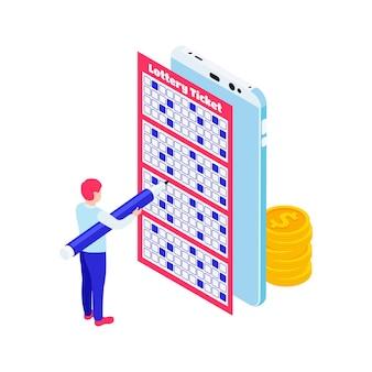 Illustrazione isometrica con monete per smartphone e carattere che compila il biglietto della lotteria 3d