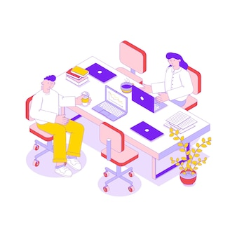 Isometric illustration with two business people working in office on laptops 3d