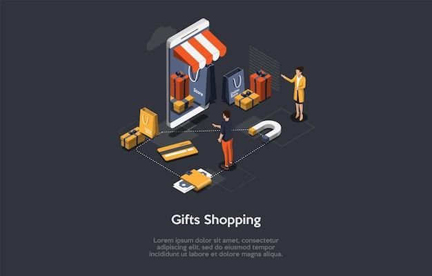 Изометрические иллюстрации с написанием и персонажами. векторная композиция в мультяшном стиле 3d на подарки, покупки, праздник, концепция подготовки к празднованию дня рождения. мобильное приложение, интернет-торговля.