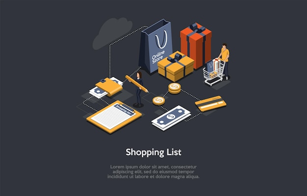 Изометрические иллюстрации с написанием и персонажами. состав вектора в мультяшном стиле 3d на концепции списка покупок. планирование торгового бюджета. люди с покупками, коробками, инфографическими объектами вокруг.