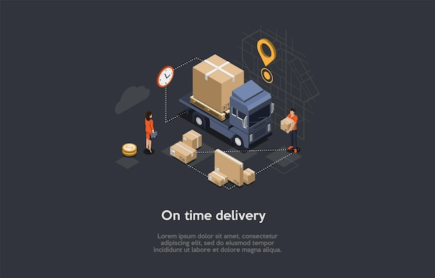 Изометрические иллюстрации с написанием и персонажами. векторная композиция в мультяшном стиле 3d на время доставки, прибытие заказа через интернет, концепция службы транспортировки товаров. грузовик с посылками, рабочий.