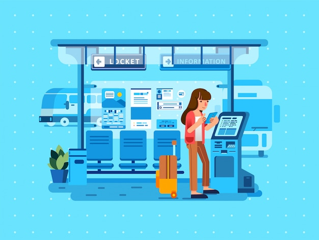 Isometric illustration of women holding smartphone and waiting bus in bus station with suitcase beside and bus station interior