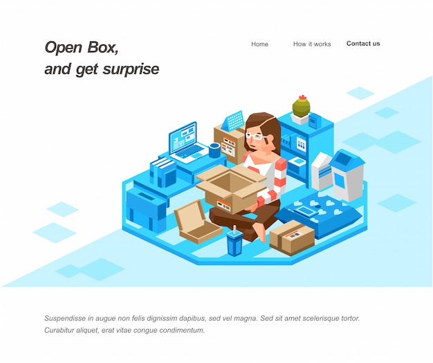 Isometric illustration of women opening a box in her room. women receiving package from delivery service. creative isometric  illustration landing page