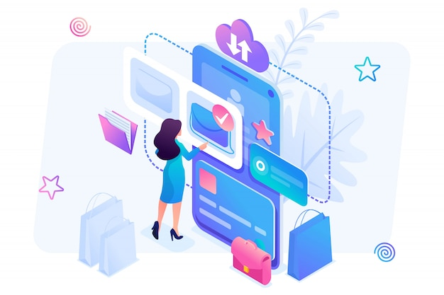 Isometric illustration of a young girl shopping online