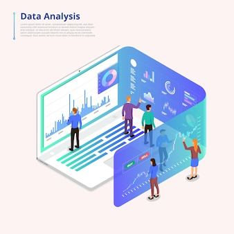 Isometric illustrations concept data analysis teamwork and tools