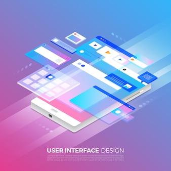 Изометрические иллюстрации концепции дизайна пользовательского интерфейса ui / ux