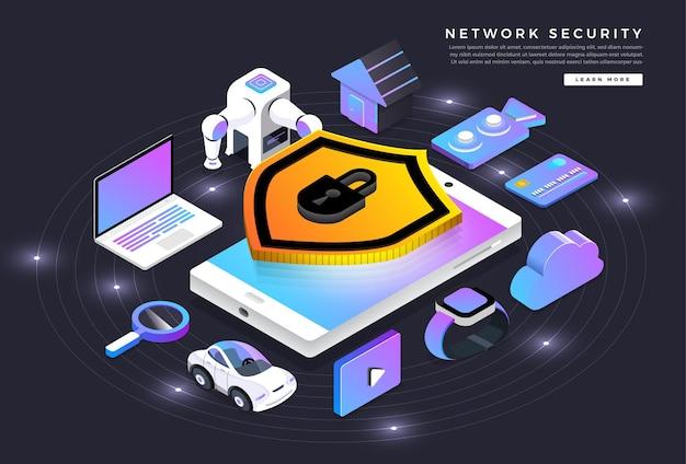 아이소 메트릭 일러스트레이션 디자인 컨셉 모바일 기술 솔루션 사이버 보안 및 장치 프리미엄 벡터