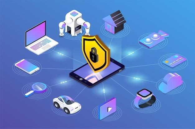 아이소 메트릭 일러스트레이션 디자인 컨셉 모바일 기술 솔루션 사이버 보안 및 장치