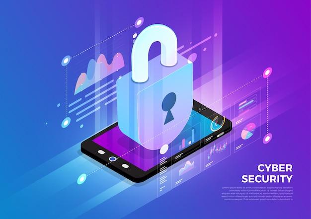 아이소 메트릭 일러스트레이션 디자인 컨셉 모바일 기술 솔루션 위에 사이버 보안