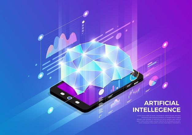 Концепция дизайна изометрических иллюстраций, решение для мобильных технологий на вершине