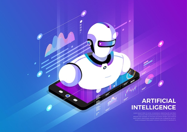 Isometric illustrations design concept mobile technology solution on top with artificial intelligence