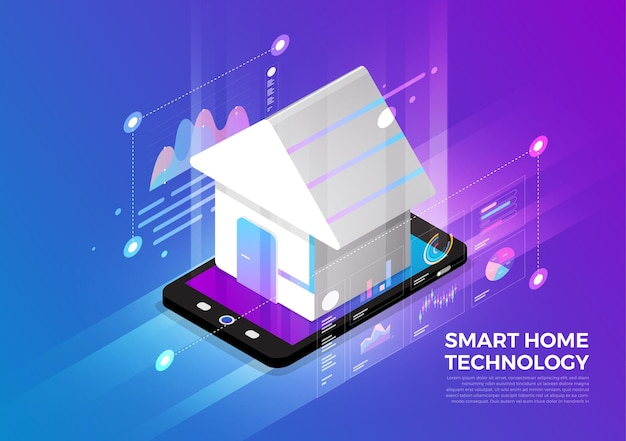 Isometric illustrations design concept mobile technology solution on top with smart home