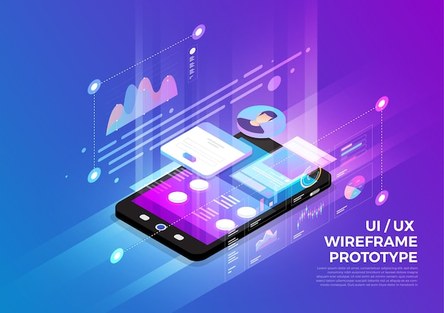 Isometric illustrations design concept mobile technology solution on top with ux/ui wireframe prototype