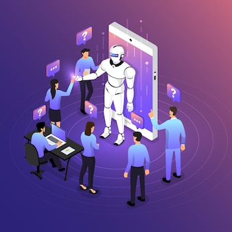 Isometric illustrations design concept mobile technology solution on top