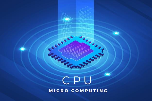 Технологическое решение концепции дизайна изометрических иллюстраций на вершине чипа процессора процессора