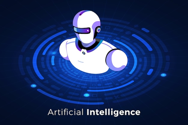 Isometric illustrations design concept technology solution on top with artificial intelligence