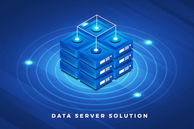 Isometric illustrations design concept technology solution on top with big data server