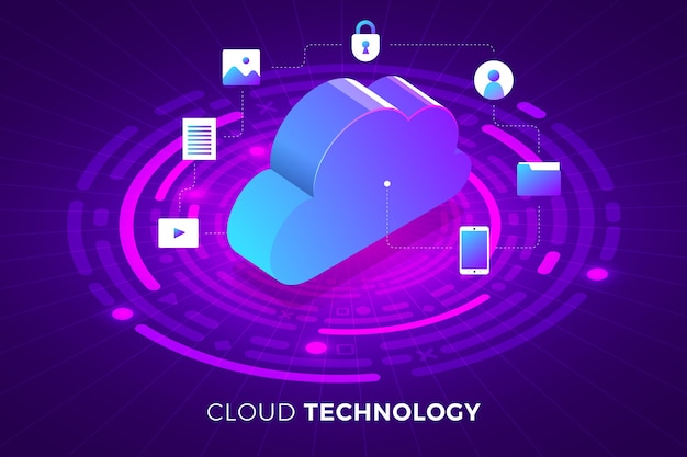 Isometric illustrations design concept technology solution on top with cloud service