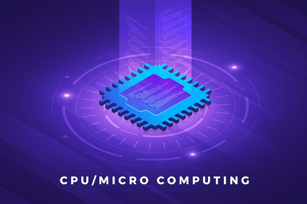 Isometric illustrations design concept technology solution on top with cpu processor chip