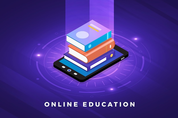 Isometric illustrations design concept technology solution on top with e-learning