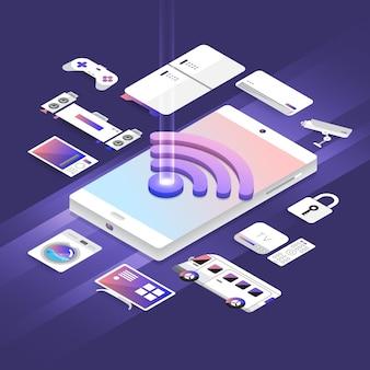 アイソメトリックイラストデザインコンセプトモバイルデバイスで動作するワイヤレスネットワーク技術