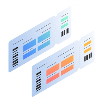 Isometric illustrations of passing board ticket template