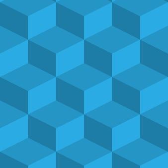 Изометрическое изображение. нарисован синий фон с объемными кубиками. все предметы являются озометрическими.