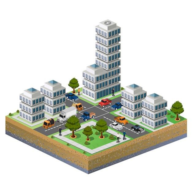 흰색 배경에 도시의 조각의 아이소 메트릭 이미지