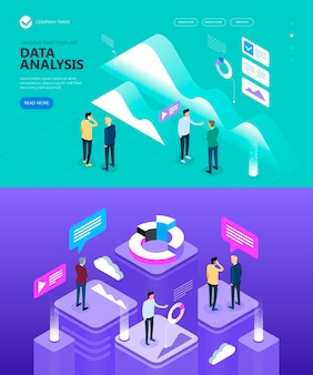 Isometric images on the theme people and businessmen are doing business, marketing and finance vector isometric concept, vector illustration