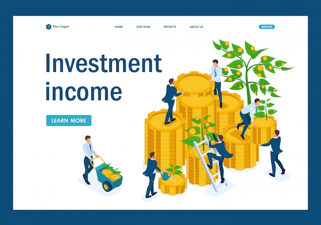 Isometric income from investments, businessmen collect profits and reinvest money landing page