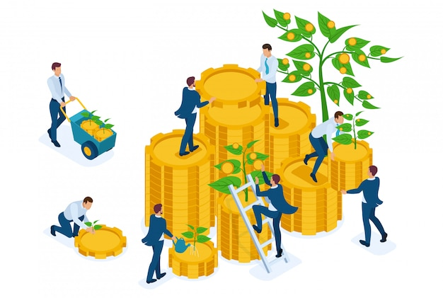 Isometric income from investments, businessmen collect profits and reinvest money.