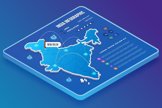 Isometric india map infographics template