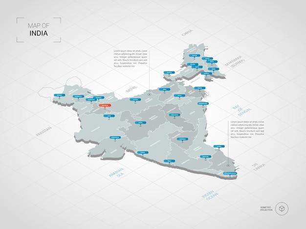 Изометрическая карта индии. стилизованная иллюстрация карты с городами, границами, столицей, административным делением и указателями; градиентный фон с сеткой.