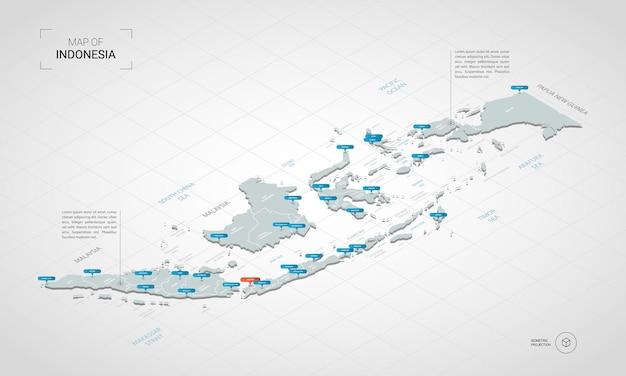 Изометрическая карта индонезии. стилизованная иллюстрация карты с городами, границами, столицей, административным делением и указателями; градиентный фон с сеткой.