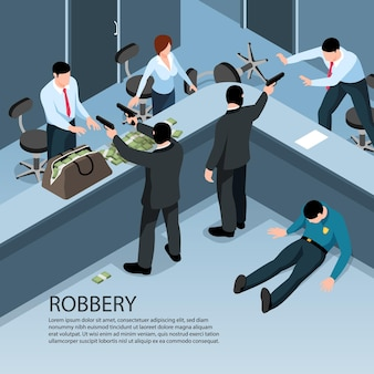 Isometric indoor scenery of robbery with guns illustration