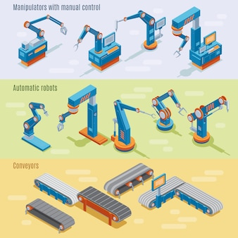 Isometric industrial automated factory horizontal banners with manipulators robotic arms and assembly line parts