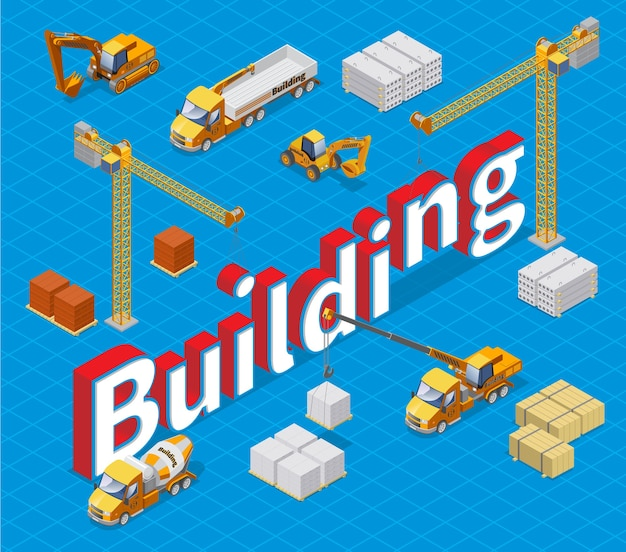 Isometric industrial building concept with different construction materials cranes concrete mixer cargo trucks and excavators isolated