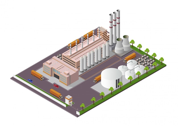施設のビューと等尺性工業用建物構成