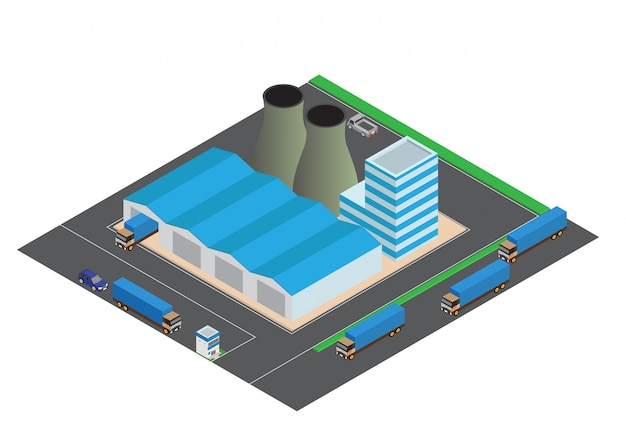 Isometric industrial buildings composition