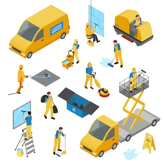 Isometric industrial cleaning icon set