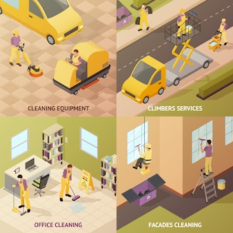 Isometric industrial cleaning