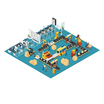 Isometric industrial factory