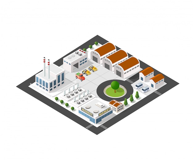 Isometric industrial landscape