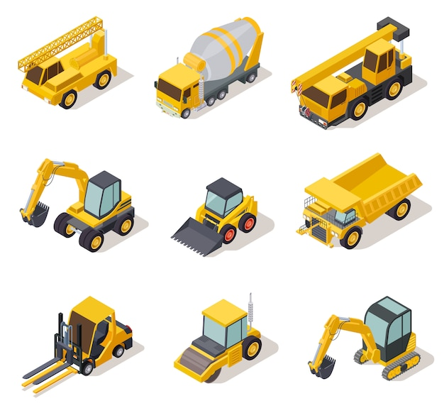 Isometric industrial machinery. 3d construction equipment truck vehicle power tools heavy machine