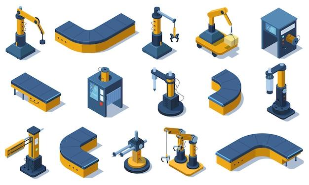 아이소메트릭 산업 기술 로봇 팔과 공장 기계. 산업용 자동화 로봇, 생산 컨베이어 라인 벡터 일러스트 세트. 공장 자동화 기계