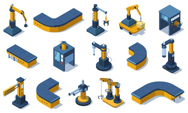Isometric industry technologies robot arms and factory machines. industrial automated robots, production conveyor lines vector illustration set. factory automated machines