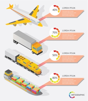 Isometric info graphic transporter shipping vector design