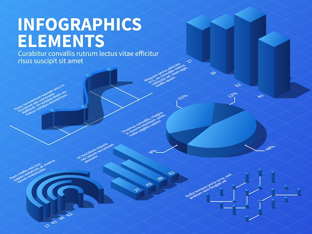 Isometric infographic. 3d statistics graphs and growth charts, percentage diagrams.