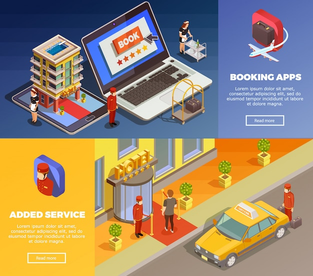 Isometric infographic booking banners